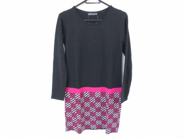 マリークワント ワンピース サイズ38 L レディース美品  黒×ピンク×白 ニット