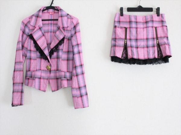 MARS(マーズ) スカートスーツ サイズM レディース美品  ピンク×黒×パープル