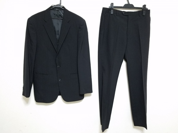 COMME CA ISM(コムサイズム) シングルスーツ サイズL メンズ 黒 シングル/ストライプ