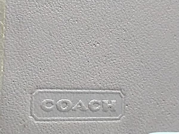 コーチ キーケース シグネチャー柄 カーキ×ベージュ 6連フック ジャガード×レザー