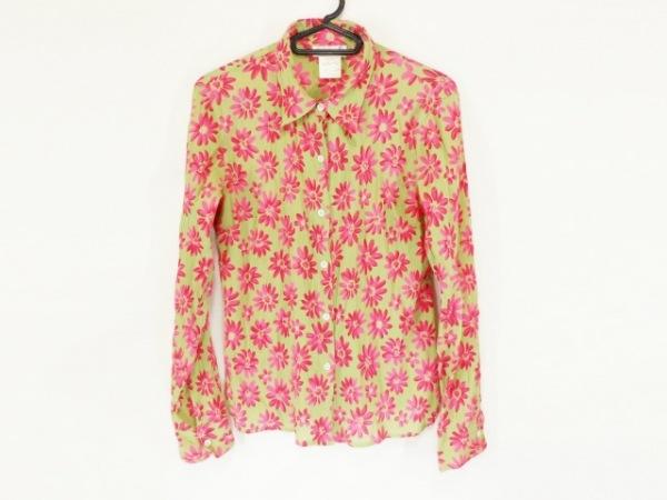 アニエスベー 長袖シャツブラウス レディース美品  ライトグリーン×ピンク 花柄