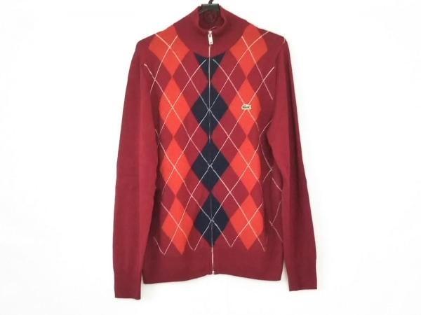 Lacoste(ラコステ) 長袖セーター サイズ3 L メンズ レッド×ネイビー×マルチ