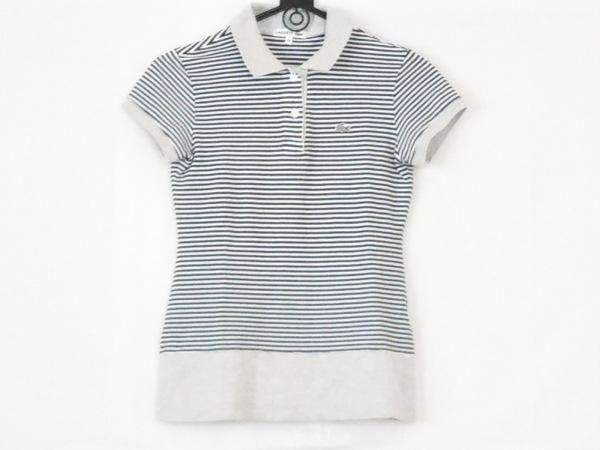 ラコステ 半袖ポロシャツ サイズ38 M レディース 白×黒×ライトグレー ボーダー
