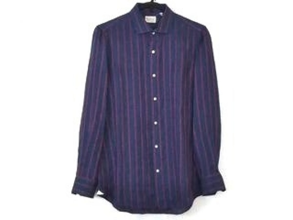 finamore(フィナモレ) 長袖シャツ サイズ41 メンズ ネイビー×レッド ストライプ