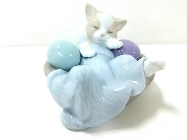 NAO(ナオ) 小物新品同様  ライトブルー×ベージュ×マルチ 置物/ネコ 陶器