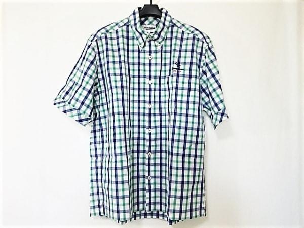 シナコバ 半袖シャツ サイズL メンズ美品  白×ブルー×グリーン チェック柄