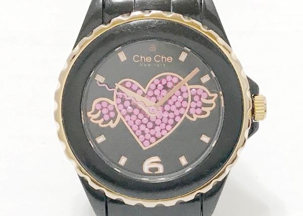 CheChe(チチ) 腕時計 CC4209 レディース 黒×ピンク