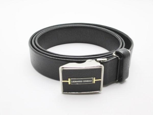 LEONARDO CENBALE(レオナルドチェンバレ) ベルト 黒 レザー×金属素材