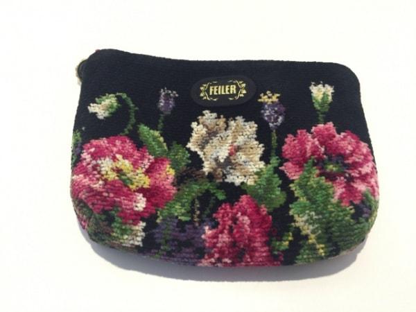 FEILER(フェイラー) ポーチ美品  黒×ピンク×マルチ 花柄 パイル