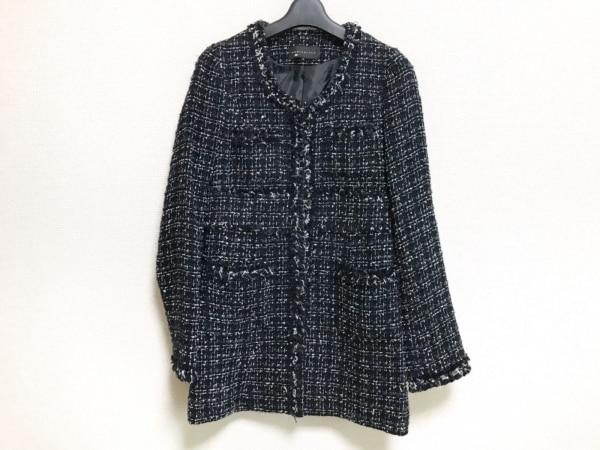 マーキュリーデュオ ジャケット サイズF レディース 黒×ネイビー×白 ラメ/ツイード