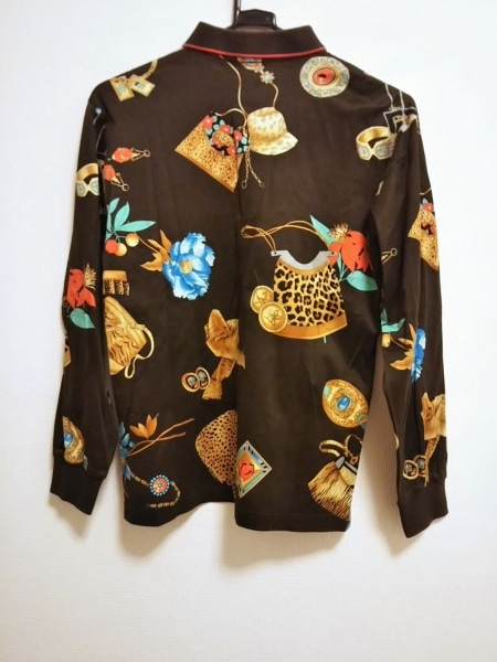 LEONARD(レオナール) 長袖ポロシャツ サイズM レディース美品  豹柄/花柄/SPORT
