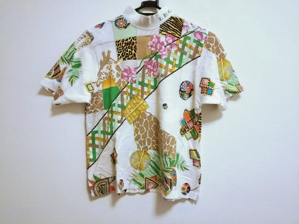 LEONARD(レオナール) 半袖Tシャツ サイズL レディース美品  白×グリーン×マルチ