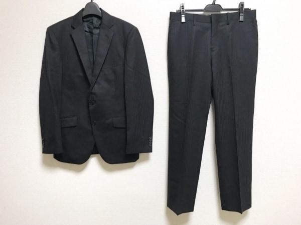 ムッシュニコル シングルスーツ サイズ46 XL メンズ 黒 ストライプ/肩パッド