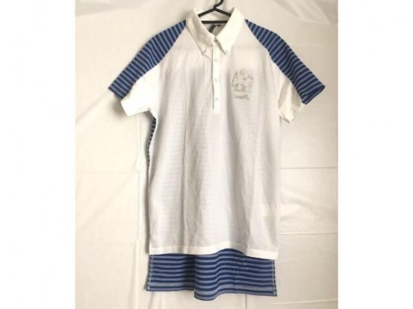 RUSSELUNO(ラッセルノ) 半袖ポロシャツ サイズ4 XL メンズ美品  白×ブルー ボーダー