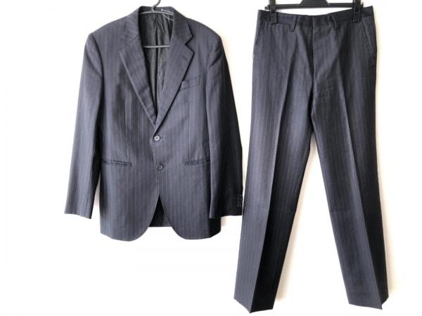 EPOCA(エポカ) シングルスーツ サイズ46 XL メンズ ダークグレー×黒×パープルグレー