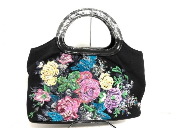 シンクビー ハンドバッグ美品  黒×ネイビー×マルチ 花柄/刺繍/スパンコール