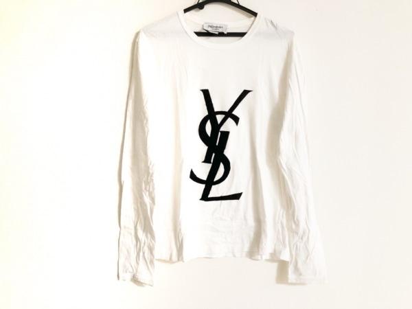イヴサンローランリヴゴーシュ 長袖Tシャツ サイズL メンズ 白×黒