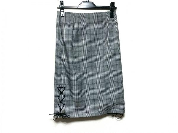 イートミー ロングスカート サイズM レディース美品  黒×白 チェック柄/千鳥格子