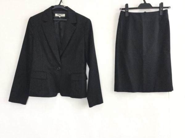ナチュラルビューティー ベーシック スカートスーツ レディース 黒×白 ストライプ