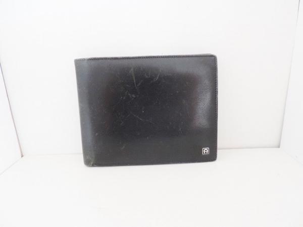 AIGNER(アイグナー) 2つ折り財布 黒 レザー