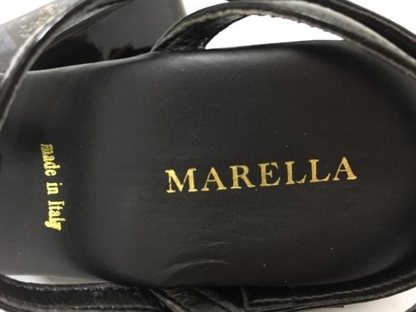 MARELLA(マレーラ) サンダル 37 レディース 黒 ウェッジソール エナメル(レザー)