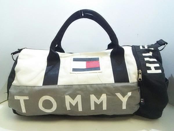 TOMMY HILFIGER(トミーヒルフィガー) ボストンバッグ 黒×白×グレー キャンバス
