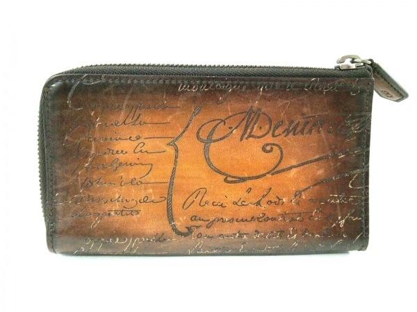 ベルルッティ 2つ折り財布美品  カリグラフィ ブラウン×ダークブラウン レザー