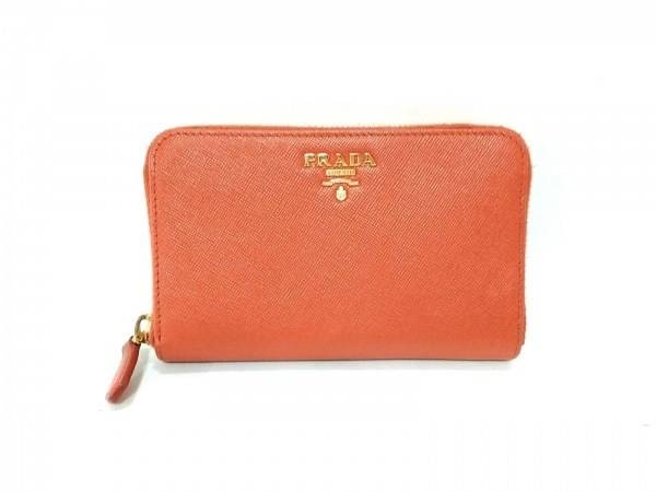 PRADA(プラダ) 財布 - 1M1157 オレンジ ラウンドファスナー サフィアーノレザー