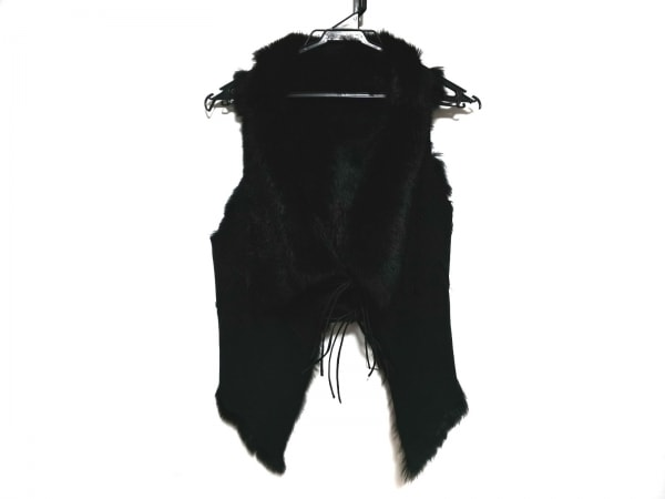 セオリーリュクス ベスト サイズ38 M レディース美品  黒 ラビットファー