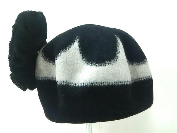 NOKO OHNO(ノコオーノ) 帽子美品  黒×グレー コサージュ付き ウール