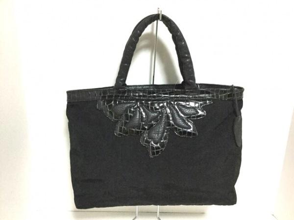 IBIZA(イビザ) ハンドバッグ美品  黒 型押し加工 ナイロン×レザー