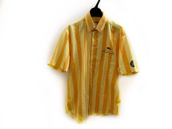 SINACOVA(シナコバ) 半袖シャツ サイズL メンズ イエロー×オレンジ ストライプ