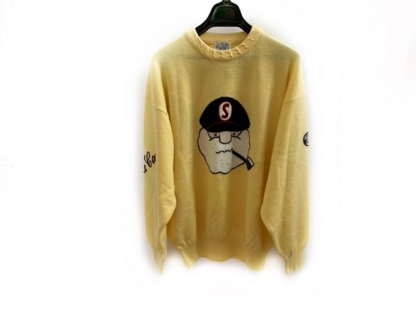 シナコバ 長袖セーター サイズM メンズ美品  イエロー×黒×マルチ LUPO DI MARE