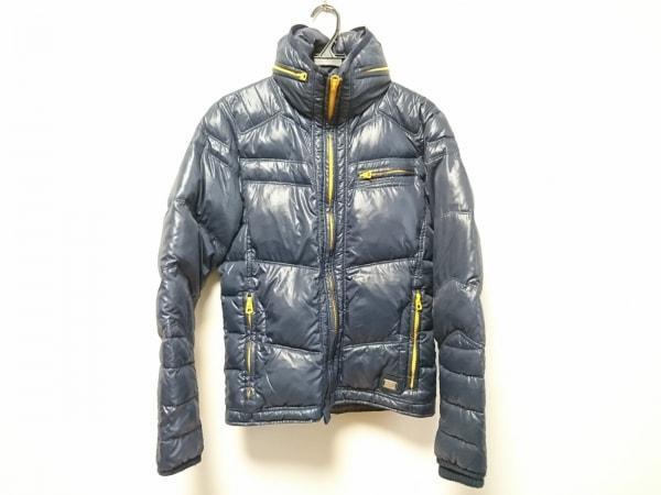 ディーゼル ダウンジャケット サイズS メンズ美品  ダークネイビー×オレンジ 冬物
