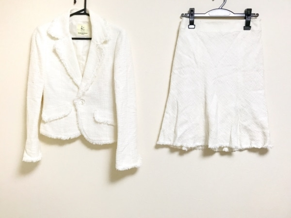 クミキョク スカートスーツ サイズ2 M レディース美品  白 ダメージ加工