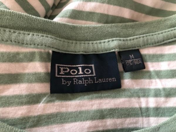 ポロラルフローレン 半袖Tシャツ サイズM メンズ 白×ライトグリーン ボーダー