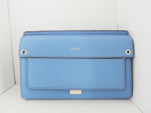 FURLA(フルラ) 財布美品  ブルー ショルダーウォレット(ストラップ取外し可) レザー