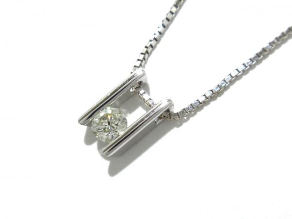 タサキシンジュ ネックレス新品同様  K18WG×ダイヤモンド 1Pダイヤ/0.23カラット