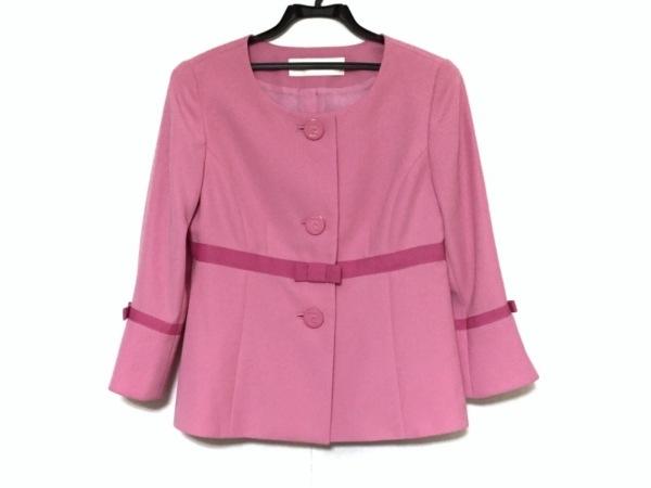 ピエールカルダン ジャケット サイズ38 M レディース美品  ピンク リボン