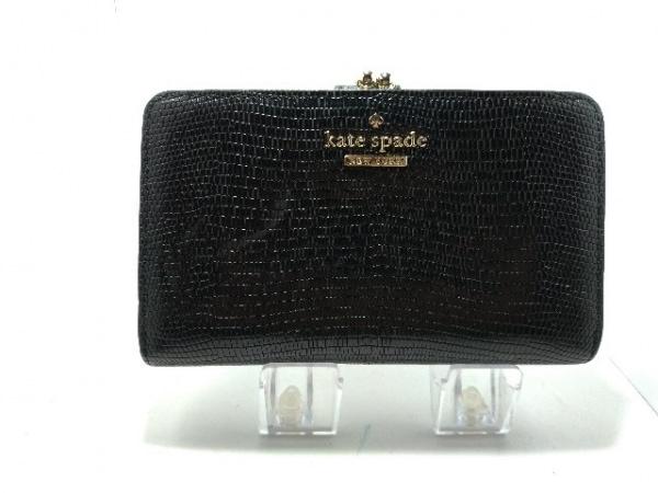 Kate spade(ケイトスペード) 2つ折り財布美品  黒 がま口 レザー