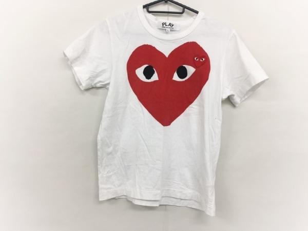プレイコムデギャルソン 半袖Tシャツ サイズL レディース 白×レッド×黒
