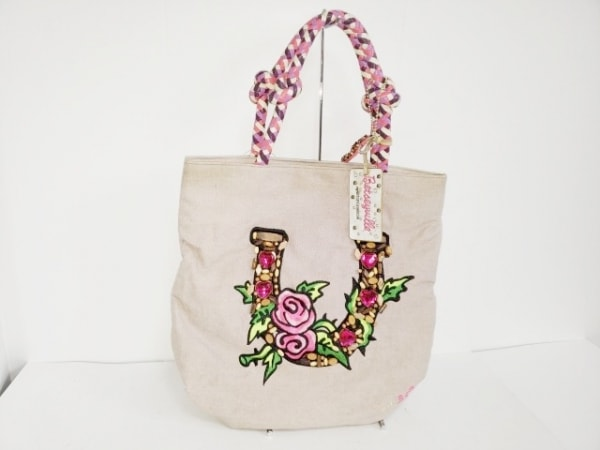 ベッツィーヴィル トートバッグ ピンク×グリーン×マルチ 花柄 キャンバス×レザー