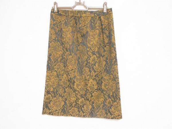 レリアン スカート サイズ11 M レディース美品  ダークブラウン×黒×マルチ 花柄