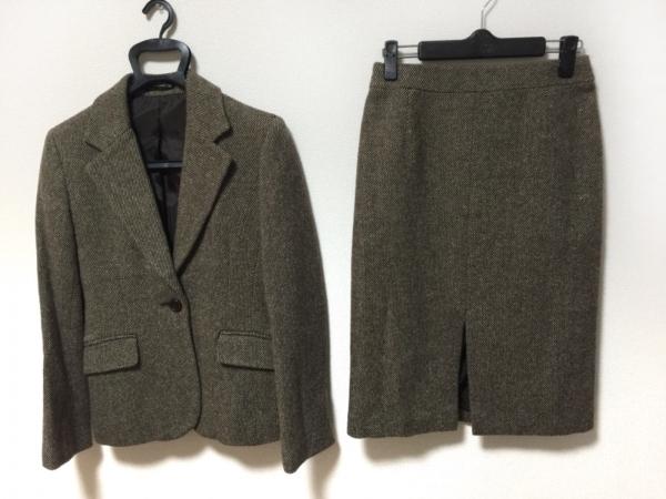 INED(イネド) スカートスーツ サイズ9 M レディース美品  ダークブラウン×アイボリー