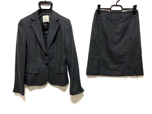 クミキョク スカートスーツ レディース美品  ダークグレー×アイボリー×レッド