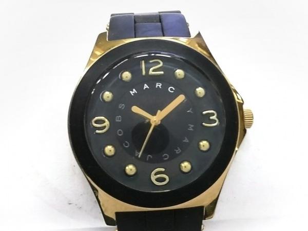 マークジェイコブス 腕時計美品  MBM2540 レディース ラバーベルト 黒×ゴールド