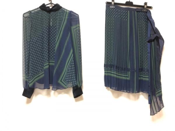 Sacai(サカイ) スカートセットアップ サイズ1 S レディース ダークネイビー×グリーン