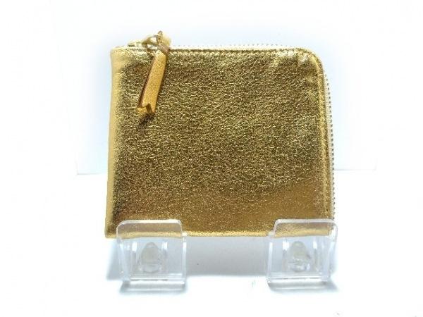 コムデギャルソン コインケース美品  ゴールド L字ファスナー レザー
