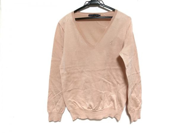 ラルフローレン 長袖セーター サイズ5f M レディース美品  ピンクベージュ
