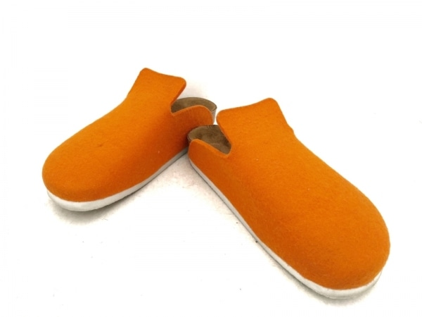 ビルケンシュトック サンダル 37 レディース オレンジ×ダークブラウン 化学繊維